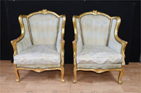 Pair French Empire Gilt Tub Arm Chairs