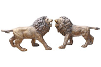 Pair Big Bronze Lions Lion Cat Statues Landseer