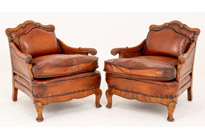 Queen Anny Walnut Leather Club Chairs