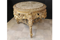 French Louis XVI Gilt Center Table Marble Topped