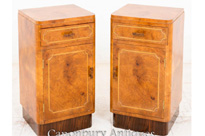 Walnut Art Deco Bedside Chests