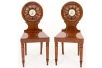 Pair William IV Mahogany Hall Chairs