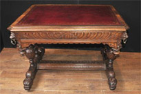 Antique 19th Century carved Oak Library Table