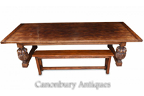 Large Refectory Table and Bench Set