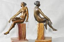 Pair Art Deco Female Figurine Bookends