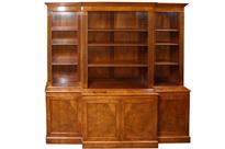 Walnut Open Breakfront Bookcase Regency