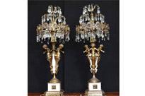 French Empire Gilt Cherub Table Lamps