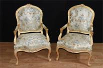 Pair French Louis XVI Gilt Arm Chairs