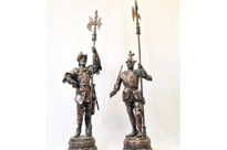 Pair Metal Spelter English Knight Statues