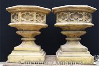 Pair English Gothic Stone Octagonal Garden Urns