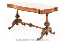 Victorian Library Table Burr Walnut