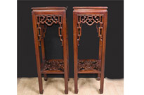 Pair Chinese Antique Pedestal Stands