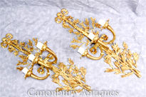 Pair French Empire Gilt Sconces