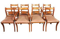 Set 8 Walnut Antique Regency Dining Chairs