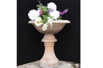 Large Tuscan Pink Marble Planter on Stand