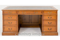 Oak Pedestal Desk - Antique Knee Hole Desks Circa 1920