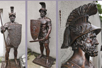 Pair XL Bronze Roman Gladiator Statues