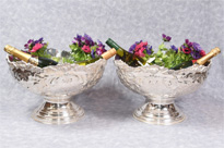 Pair Rococo Silver Plate Punch Bowls
