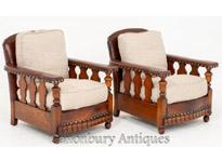 Pair Art Deco Club Chairs Vintage Circa 1930
