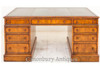 Victorian Burr Walnut Partners Desk