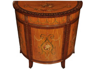 Sheraton Painted Demi Lune Cabinet Regency Satinwood