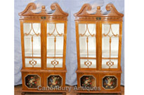 Pair Antique Chippendale Glass Fronted Display Cabinets