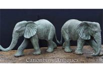 Pair Large Bronze Elephant Statues