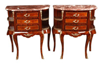 Pair Empire Bedside Chest Drawers Nightstands