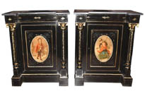 Pair Antique French Ebonized Cabinets Painted Plaques