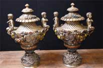 French Art Nouveau Antique Bronze Garden Urns