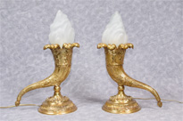 Pair French Empire Cornucopia Table Lamps