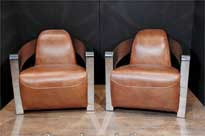 Pair Art Deco Chrome Leather Club Chairs