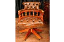 Leather Desk Chair Swivel Captains Tub Seat