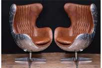 Pair Art Deco Chrome Aviator Arm Chairs