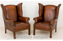 Pair Georgian Leather Wingback Arm Chairs
