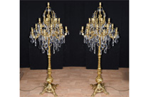 Ornate Pair Louis XVI Gilt Candelabras