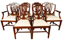 Set 8 Regency Shield Back Dining Chairs