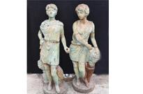 Victorian Cast Iron Roman Garden Statues
