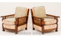 Pair Antique Oak Bergere Chairs
