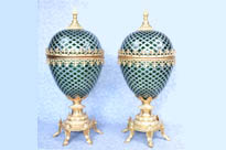 Pair French Empire Green Cut Glass Egg Vases