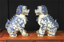 Nanking Blue and White Chinese Porcelain Foo Dogs