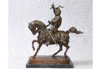 English Bronze Knight Horseback Statue