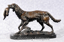 French Bronze Moigniez Hunter Dog Statue
