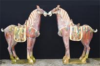 Pair Large Chinese Porcelain Tang Horses