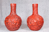 Pair Cinnabar Lacquer Chinese Buddhist Vases