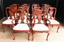 Set 14 Chinese Red Lacquer Dining Chairs