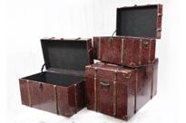 Set 3 Faux Snakeskin Luggage Boxes