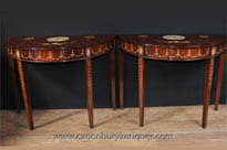 Pair Sheraton Painted Console Tables in Mahogany