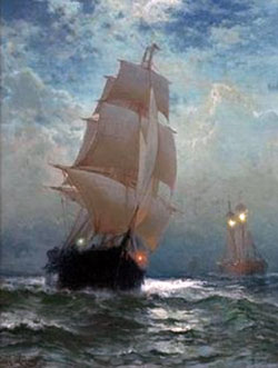 Sailboat in rough sea