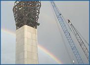 Rainbow over steel structure